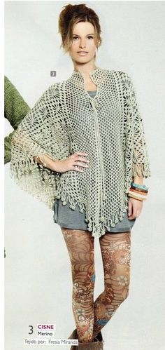 Patrones Crochet: Poncho Tunica Tejida Patron