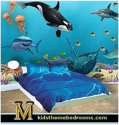 Ocean Mural ~Underwater Sea Wall Mural for kids room walls filled with amazing sea creatures wall decals that just peel and stick to make decorating easy. It is so much fun to design a undersea world with removable Killer Whale, dolphins, jelly fish, coral and tropical fish and a buried treasure chest wall mural decals.