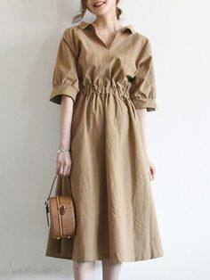 Trust tocozy, you'll look cool with New Arrival Vintage High Waist Half Sleeves Lapel Women's Maxi Dress. Modest Outfits, Modest Fashion, Cute Fashion, Casual Outfits, Fashion Dresses, Womens Fashion, Mode Vintage, Classy Dress, Look Cool