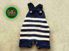 Sailor knit baby overall.