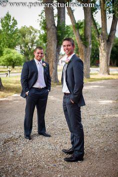 Grey suit, groom and best man