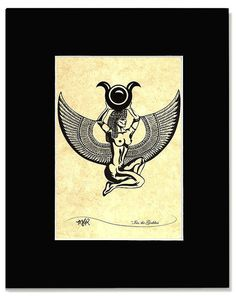 Isis The Goddess Custom Print Of An Original Black Ink Drawing Please Indicate