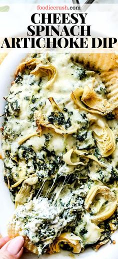 This easy recipe for baked hot and cheesy spinach artichoke dip leaves out the mayo and adds extra cheese to give you every reason to dip your chip. Healthy Vegetable Recipes, Easy Meat Recipes, Easy Delicious Recipes, Dip Recipes, Easy Dinner Recipes, Appetizer Recipes, Cheese Recipes, Spinach Recipes, Appetizers