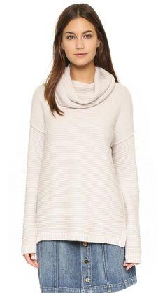 Autumn Cashmere Garter Stitch Cowl Neck Sweater