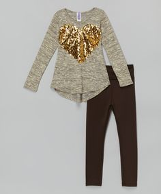 Look at this Gold Sequin Heart Tunic & Black Leggings - Toddler & Girls on #zulily today!