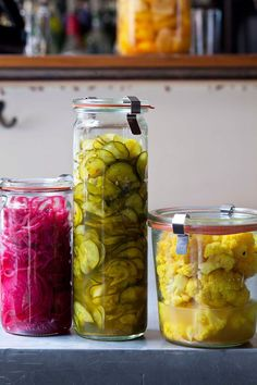 Israeli Pickles (red onion, cucumber, and cauliflower)
