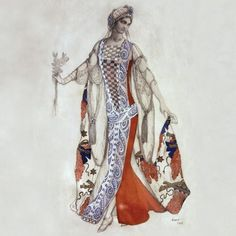 From Perrault's tale 'the Sleeping Princess (La belle au bois dormant) 1921 - music by Tchaikovsky, choreography by Marius Petipa. costume design for Princess Aurore by Leon Bakst. Theatre Costumes, Ballet Costumes, Russian Ballet, Russian Art, Léon Bakst, Sleeping Beauty Ballet, Costume Design Sketch, Australian Ballet, Fine Art Posters
