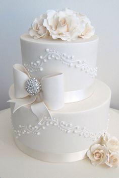 Beautiful simple blingy wedding cake.