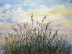 Sea Oats Archival Print watercolor seascape beach art by RPeppers