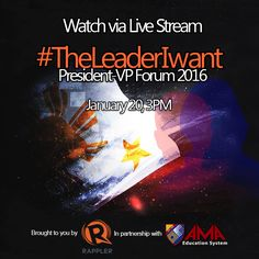 To all AMA Education System students who registered for Rappler's #TheLeaderIwant President-VP Forum, see you tomorrow at the event! The event will also be broadcasted via livestream. LIVESTREAM LINK: www.rappler.com/nation/politics/elections/2016/118438-theleaderiwant-president-vp-forum We also highly encourage you to post your reactions on social media using the hashtag #TheLeaderIwant