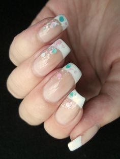 french manicure with pastel glitter