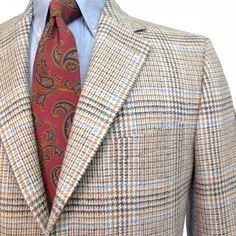 O'Connell's Robert Noble Plaid Tweed Sport Coat - Camel Charcoal & Blue
