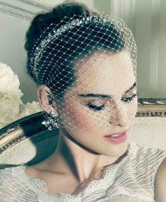 Truly Zac Posen russian tulle blusher headband with crystal embellishments. Truly Zac Posen at David's Bridal ZP481412. Style #fascinator #veil #davidsbridal