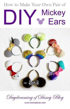 Might be fun to make your own Mickey ears! Disney Diy, Diy Disney Ears, Mickey Mouse Ears Headband, Disney Mickey Ears, Disney Crafts, Mickey Ears Diy, Disney Cruise, Disney 2017, Disney Ideas