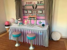 Majestically Unique Events's Birthday / Soda Shoppe - Photo Gallery at Catch My Party 1950s Theme Party, 50s Theme Parties, Diner Party, 75th Birthday Parties, Retro Birthday, Adult Birthday Party, Retro Party, 50th Party, Sweet 16 Birthday