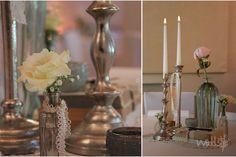 ♥♥♥ Moderne, einzelne Kerzenständer kombiniert mit Vintage-Tischdekoration http://www.weddstyle.de/kerzenstaender-mieten.html