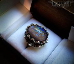 Smoky Tanzanite Opal Ring // Fire Opal Ring // Gothic Ring by horribell