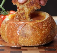 Grilled Cheese With Tomato Soup Bread Bowl