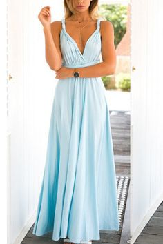 Baby-blue Multiway Self-tie Sleeveless Maxi Dress -YOINS