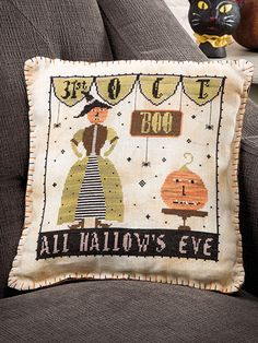 Cross stitch for Halloween on Pillows and more