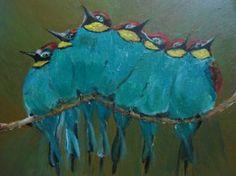 "Saatchi Art Artist cazac lilia; Painting, ""green bee eaters"" #art"