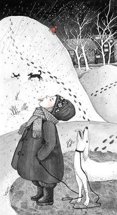 Art And Illustration, Illustrations And Posters, Art Fantaisiste, Winter Art, Whimsical Art, Illustrators, Folk Art, Art Drawings, Sketches