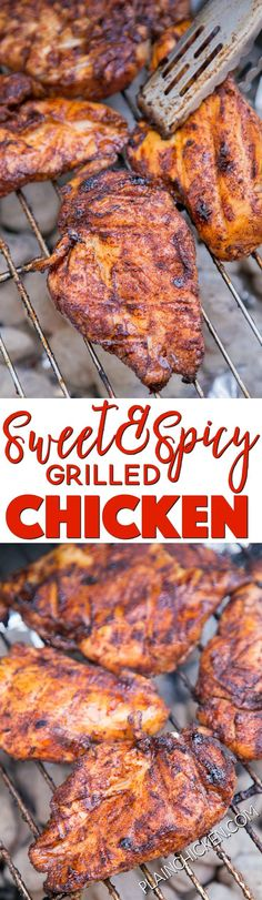 Sweet and Spicy Grilled Chicken - CRAZY good!! Chicken marinated in an easy dry rub and grilled. Ready for the grill in 30 minutes! Brown sugar, chili powder, garlic powder, seasoned salt and chicken. We LOVE this chicken! SO much flavor!!! Great in wraps and on top of a salad too!! One of our favorite chicken recipes.