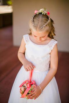 Flower girl, traditional white dress, Dutch braid, crown, flowers, pomander // Jennifer Bowen Photography