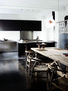 Kitchen and dining. Photographer Wichmann and Bendtsen, from Elle Decoration UK October 2013.