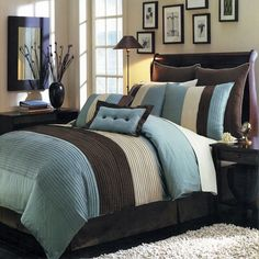 Modern Color Block Aqua Blue Brown Comforter and Shams Set with Decorative Pillows.  Perfect bedding set for your contemporary modern bedroom decor.
