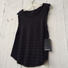 Striped Muscle Tank Super versatile top! Wear it for an edgy look or with a skater skirt for a more girly feel. Gray and black stripes. Comfy muscle tee. Teeny tiny pinhole shown in last picture. Sheer cotton material. New with tags! Hurley Tops Muscle Tees