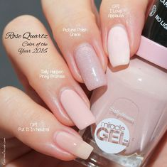 Rose Quartz - Pantone Color of the Year 2016: OPI I Love Applause, Picture Polish Grace, Sally Hansen Pinky Promise, OPI Put It In Neutral