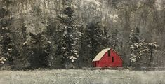 Sanctuary, encaustic painting by Lee Anne LaForge Bear Paintings, Cute Paintings, Nature Paintings, Landscape Paintings, Lake Painting, Encaustic Painting, Spring Landscape, Beach Landscape, Burgundy Aesthetic