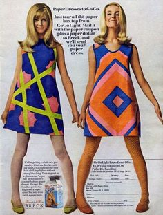 Late 60s saw the first form of fast fashion in the paper dress. Often printed with pop art the dress was cheap, cute, and disposable.