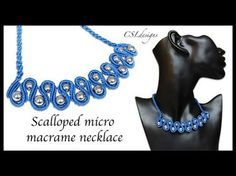 In this tutorial I show you how to make a scalloped micro macrame necklace. We use the beads in this design to achieve the curve that works perfectly for a n. Collar Macrame, Macrame Colar, Macrame Earrings, Macrame Knots, Macrame Jewelry, Macrame Bracelets, Diy Jewelry, Loom Bracelets, Handmade Jewelry