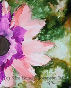 masking fluid with alcohol ink flower on yupo