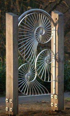 Chambered nautilis garden gate.