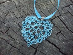 heart #necklace, crochet pendant, crochet necklace, heart pendant, crochet jewelry, sky blue jewelry, blue necklace  Boho necklace is made of sky blue ribbon, wonderful piec... #handmade #fairyinwoods #etsy #glamour