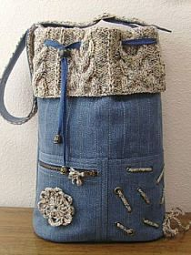 DIY - repurposed jean bag with sweater top...cute. No instructions but a good idea! I am going to try this without the sweater but maybe an old cotton print top.