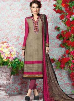 Vibrant Cream Embroidery Work Print French Crepe Churidar Suit