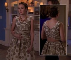 Blair's cream circle print dress and orange necklace on Gossip Girl.  Outfit Details: http://wornontv.net/3765/ #GossipGirl
