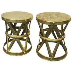 Pair of Vintage Hammered Brass X-Stools or Side Tables by Sarreid