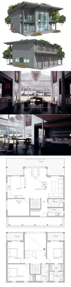 Planta de casa simples, com tecto aberto na sala de jantar