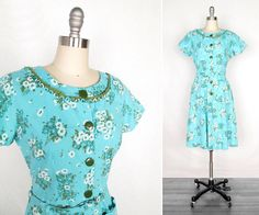 Vintage 1940s Dress / Robin's Egg Blue and Olive Green Floral 1940s Day Dress / small - medium