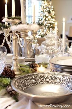 white,gold,and silver christmas decor | White & Silver Christmas Party Place Setting-would like to do this ...