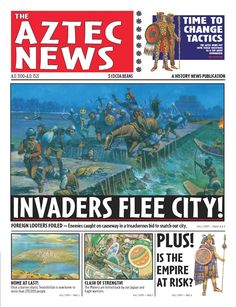 #commoncore History News: The Aztec News, by Norma Rosso. Welcome, stranger. You have arrived in the ancient and remarkable island city of Tenochtitlan, home of the mighty Aztec people. While you are here, pick up a copy of THE AZTEC NEWS and learn about our ways: our politics, religion, trading and farming methods, medicine, military, and sports, as well as the latest news on the invaders who threaten the very existence of our civilization --Read all about it in THE AZTEC NEWS! Ages 9-12…