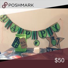 Army party decor 1 Happy birthday banner, 24 cupcake toppers, 1 cake topper and 10 favor bags Other
