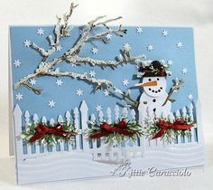 KC Impression Obsession Fence Trio.   I have done this with my Sizzix Snowman die.   So cute!