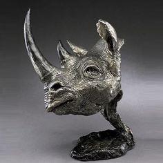 Bronze Black Rhino Sculpture by artist Mark Hopkins