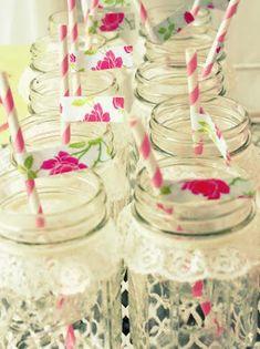 Lace (hot glued together) around the neck of mason jar!  Shabby Chic Bridal Shower Ideas | Kara's Party Ideas